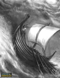 Viking Warrior Ship Riding the Storm