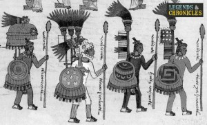 Aztec Warriors with Tepoztopilli