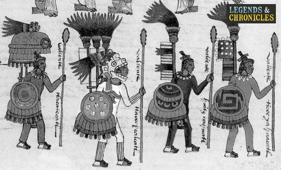 Aztec Warriors with Tepoztopilli